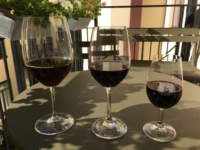Size matters. From left to right, 175 ml, 125 ml and 100 ml of red wine