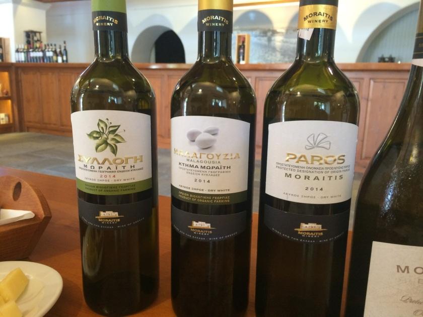Moraitis white wines. Syllogi, Malagousia, Paros.